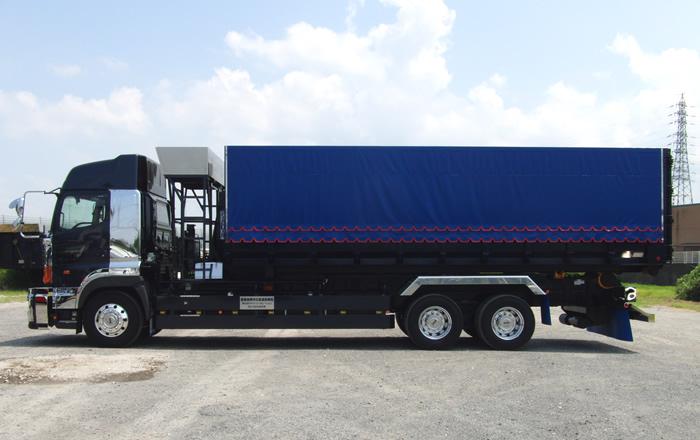 産業廃棄物運搬フックロール車両